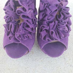 "Charlotte Russe Shoes - CHARLOTTE RUSSE Ruffled Open Toe 5"" Heels, sz 9"